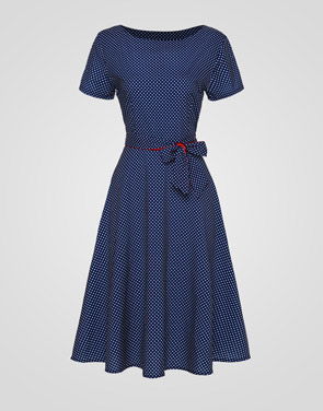 photo Polka Dot Bowknot Exquisite Round Neck Skater Dress by FashionMia, color Blue - Image 1