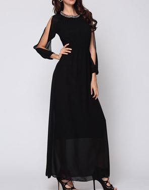 photo Hollow Out Plain Captivating Off Shoulder Maxi Dress by FashionMia, color Black - Image 1