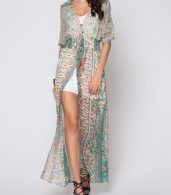 photo Bohemian Bowknot Chic V Neck Maxi Dress by FashionMia, color Green - Image 1