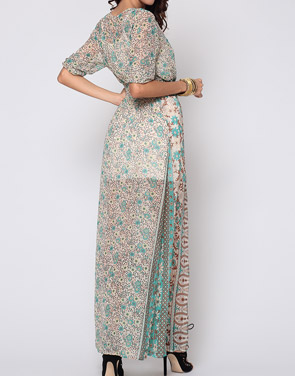 photo Bohemian Bowknot Chic V Neck Maxi Dress by FashionMia, color Green - Image 3