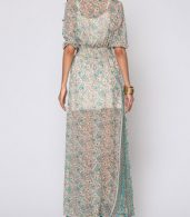 photo Bohemian Bowknot Chic V Neck Maxi Dress by FashionMia, color Green - Image 4