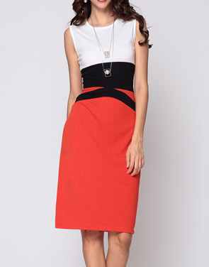 photo Color Block Celebrity Round Neck Bodycon Dress by FashionMia, color Orange Red - Image 2