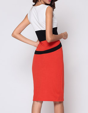 photo Color Block Celebrity Round Neck Bodycon Dress by FashionMia, color Orange Red - Image 3