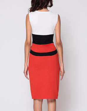 photo Color Block Celebrity Round Neck Bodycon Dress by FashionMia, color Orange Red - Image 4