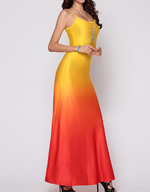 photo Gradient Sparkling Spaghetti Strap Maxi Dress by FashionMia, color Yellow - Image 2