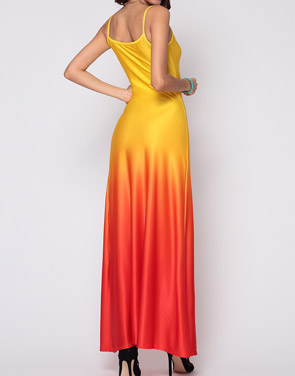 photo Gradient Sparkling Spaghetti Strap Maxi Dress by FashionMia, color Yellow - Image 3