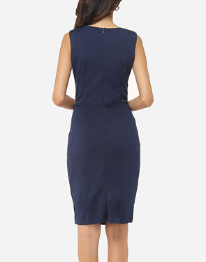 photo Plain Split Decorative Buttons Chic Round Neck Bodycon Dress by FashionMia, color Dark Blue - Image 4