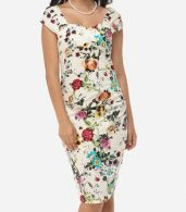 photo Floral Printed Charming Sweet Heart Bodycon Dress by FashionMia, color White - Image 1