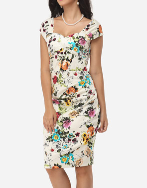 photo Floral Printed Charming Sweet Heart Bodycon Dress by FashionMia, color White - Image 3
