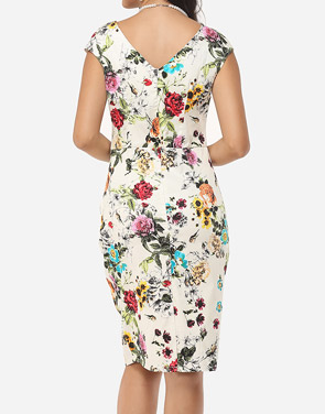 photo Floral Printed Charming Sweet Heart Bodycon Dress by FashionMia, color White - Image 4