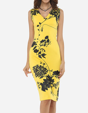photo Floral Printed Exquisite V Neck Bodycon Dress by FashionMia, color Yellow - Image 1