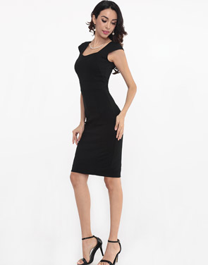 photo Plain Split Elegant Sweet Heart Bodycon Dress by FashionMia - Image 11