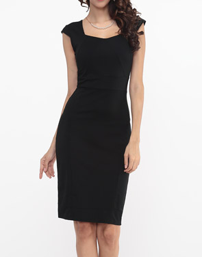 photo Plain Split Elegant Sweet Heart Bodycon Dress by FashionMia - Image 7