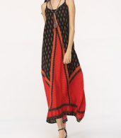 photo Assorted Colors Patchwork Spaghetti Strap Maxi Dress by FashionMia, color Red - Image 2
