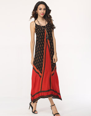 photo Assorted Colors Patchwork Spaghetti Strap Maxi Dress by FashionMia, color Red - Image 3