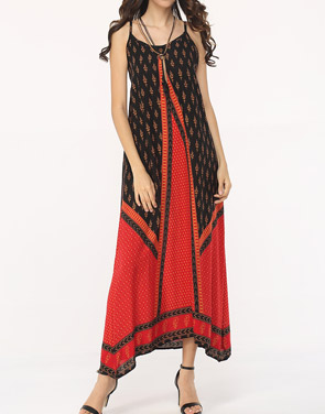 photo Assorted Colors Patchwork Spaghetti Strap Maxi Dress by FashionMia, color Red - Image 1