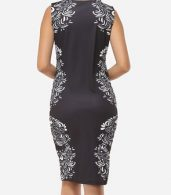 photo Printed Courtly V Neck Bodycon Dress by FashionMia, color Black - Image 4