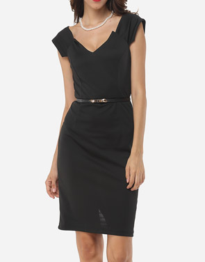 photo Plain V Neck Bodycon Dress by FashionMia, color Black - Image 2