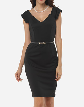 photo Plain V Neck Bodycon Dress by FashionMia, color Black - Image 1