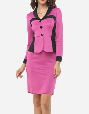 photo Color Block Decorative Buttons Elegant V Neck Bodycon Dress by FashionMia, color Rose - Image 2