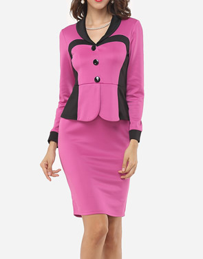 photo Color Block Decorative Buttons Elegant V Neck Bodycon Dress by FashionMia, color Rose - Image 1