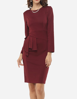 photo Plain Falbala Elegant Round Neck Bodycon Dress by FashionMia, color Claret Red - Image 2
