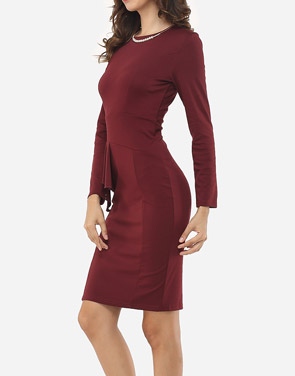 photo Plain Falbala Elegant Round Neck Bodycon Dress by FashionMia, color Claret Red - Image 3