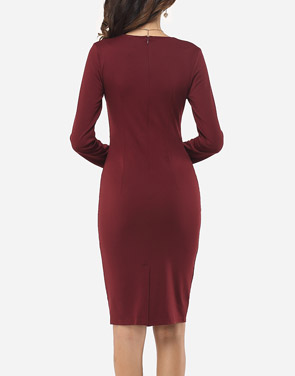 photo Plain Falbala Elegant Round Neck Bodycon Dress by FashionMia, color Claret Red - Image 4