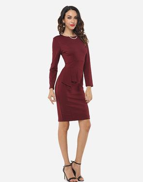 photo Plain Falbala Elegant Round Neck Bodycon Dress by FashionMia, color Claret Red - Image 5