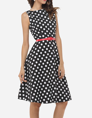photo Polka Dot Delightful Round Neck Skater Dress by FashionMia, color Black - Image 2