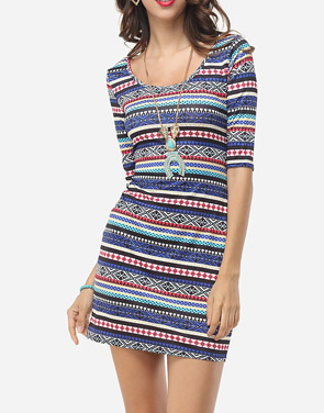 photo Bohemian Striped Captivating Round Neck Bodycon Dress by FashionMia, color Blue - Image 2