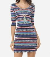 photo Bohemian Striped Captivating Round Neck Bodycon Dress by FashionMia, color Blue - Image 1