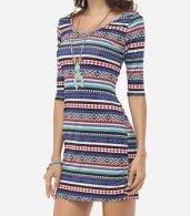 photo Bohemian Striped Captivating Round Neck Bodycon Dress by FashionMia, color Blue - Image 3