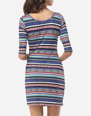photo Bohemian Striped Captivating Round Neck Bodycon Dress by FashionMia, color Blue - Image 4