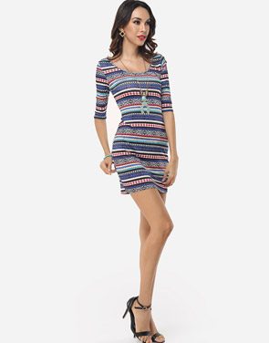 photo Bohemian Striped Captivating Round Neck Bodycon Dress by FashionMia, color Blue - Image 5