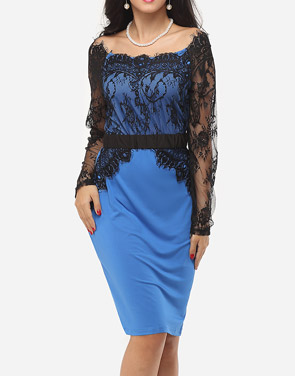 photo Hollow Out Lace Patchwork Split Celebrity Off Shoulder Bodycon Dress by FashionMia, color Lake Blue - Image 2