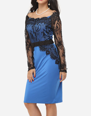 photo Hollow Out Lace Patchwork Split Celebrity Off Shoulder Bodycon Dress by FashionMia, color Lake Blue - Image 3