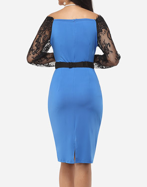 photo Hollow Out Lace Patchwork Split Celebrity Off Shoulder Bodycon Dress by FashionMia, color Lake Blue - Image 4