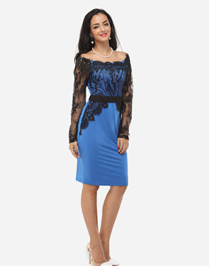 photo Hollow Out Lace Patchwork Split Celebrity Off Shoulder Bodycon Dress by FashionMia, color Lake Blue - Image 5