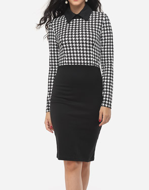 photo Houndstooth Courtly Doll Collar Bodycon Dress by FashionMia, color White Black - Image 2
