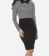 photo Houndstooth Courtly Doll Collar Bodycon Dress by FashionMia, color White Black - Image 1