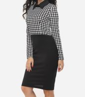 photo Houndstooth Courtly Doll Collar Bodycon Dress by FashionMia, color White Black - Image 3