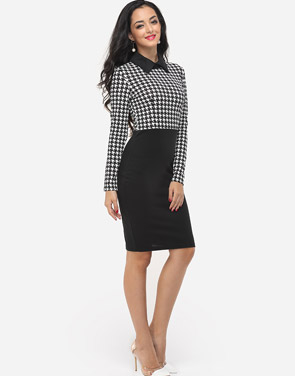photo Houndstooth Courtly Doll Collar Bodycon Dress by FashionMia, color White Black - Image 5
