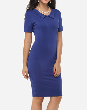 photo Plain Charming Polo Collar Bodycon Dress by FashionMia, color Dark Blue - Image 3