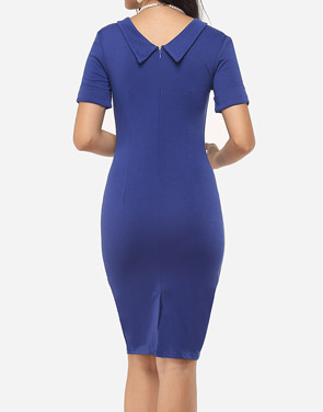 photo Plain Charming Polo Collar Bodycon Dress by FashionMia, color Dark Blue - Image 4