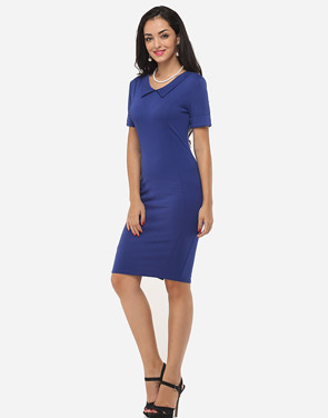 photo Plain Charming Polo Collar Bodycon Dress by FashionMia, color Dark Blue - Image 5