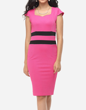 photo Color Block Split Striped Modern Sweet Heart Bodycon Dress by FashionMia, color Peach - Image 2