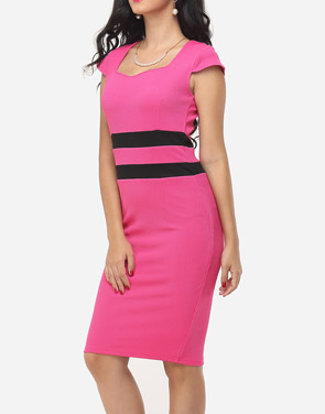 photo Color Block Split Striped Modern Sweet Heart Bodycon Dress by FashionMia, color Peach - Image 3