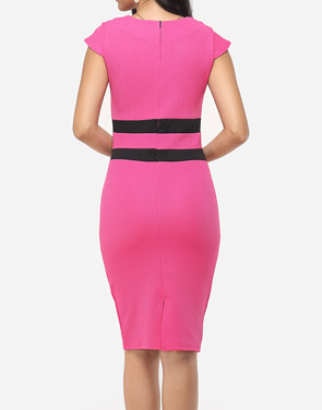 photo Color Block Split Striped Modern Sweet Heart Bodycon Dress by FashionMia, color Peach - Image 4