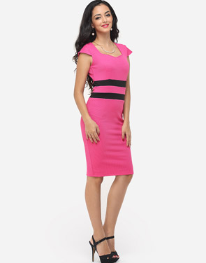 photo Color Block Split Striped Modern Sweet Heart Bodycon Dress by FashionMia, color Peach - Image 5
